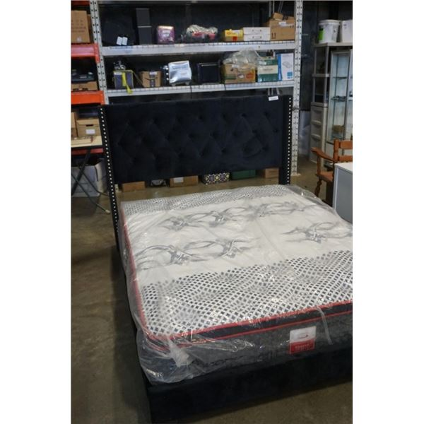 Queensize microfibre bed frame with canad sleep queen size pillowtop mattress