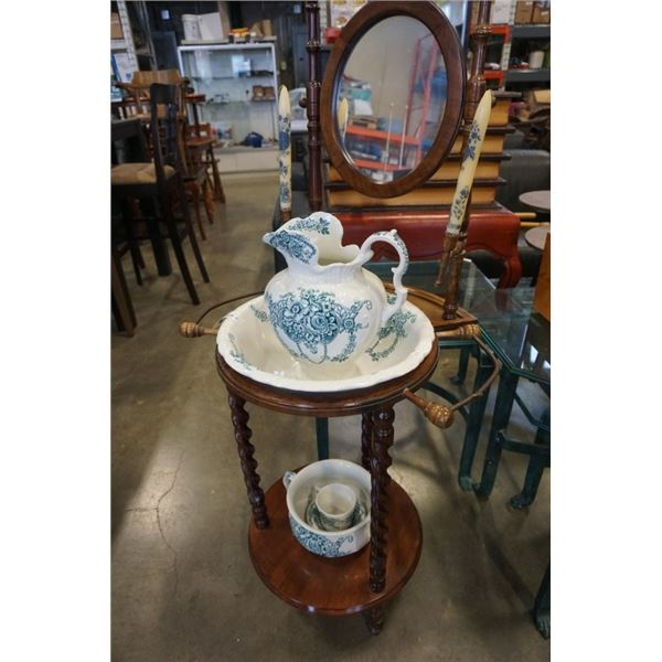 WASH STAND WITH ANTIQUE DUCHESS HANLEY ENGLAND WASH SET - INCLUDES JUG AND BOWL, CHAMBER POT, CUP AN