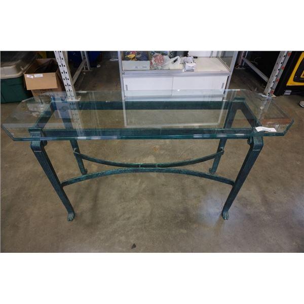 METAL GLASSTOP SOFA TABLE