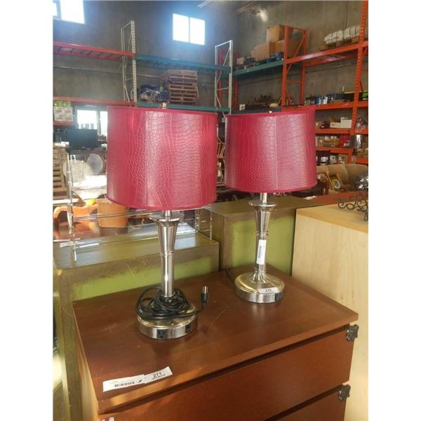 Pair of brushed metal table lamps