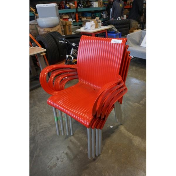 SET OF 4 MODERN RED DINING CHAIRS