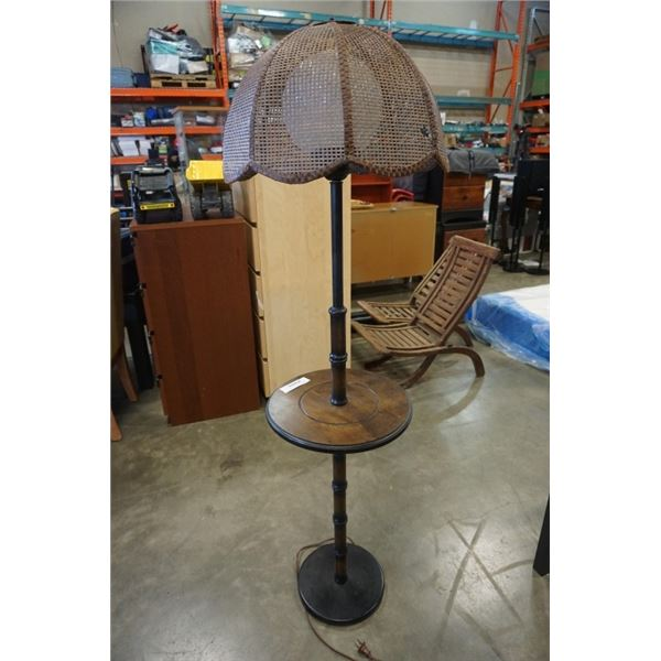 VINTAGE FLOOR LAMP ENDTABLE WITH GLASS AND WICKER SHADE