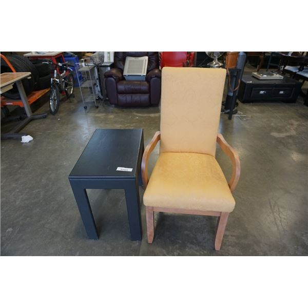 MODERN ARMCHAIR AND BLACK SIDE TABLE