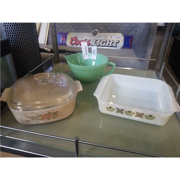 JADEITE FIRE KING POUR BOWL WITH PYREX POT AND FIRE KING BOWL