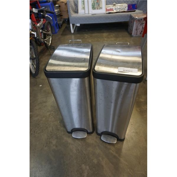 2 STAINLESS WASTEBINS WITH FOOT PEDALS SOFT CLOSE