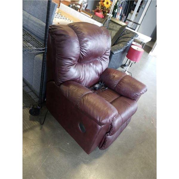 Burgundy electric reclining chair