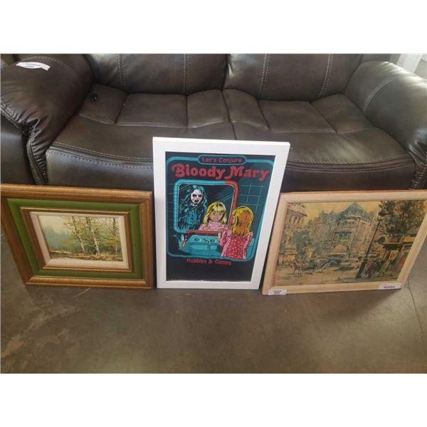 Framed T-shirt, and 2 paintings