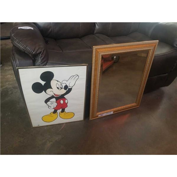 MICKEY MOUSE PRINT, BEVELLED MIRROR AND PAINTING