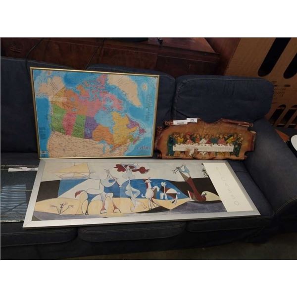 """LAST SUPPER"" WALL HANGING, FRAMED MAP OF CANADA, AND PICASSO PRINT"