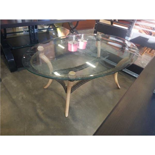OVAL GLASSTOP METAL BASE COFFEE TABLE