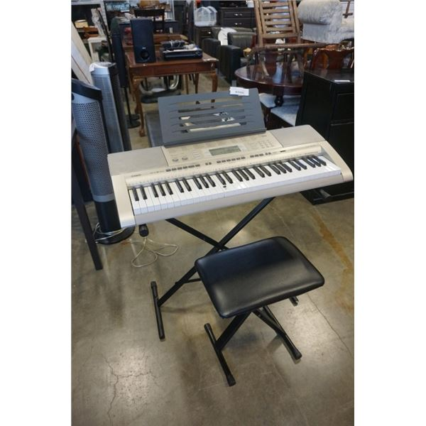 CASIO KEYBOARD WITH FOLDING STAND AND STOOL