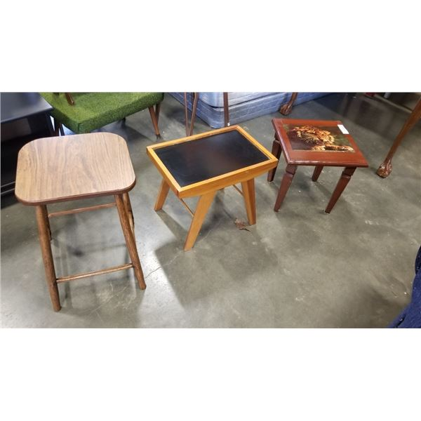 3 SMALL ENDTABLES - ONE WITH TIGER ART