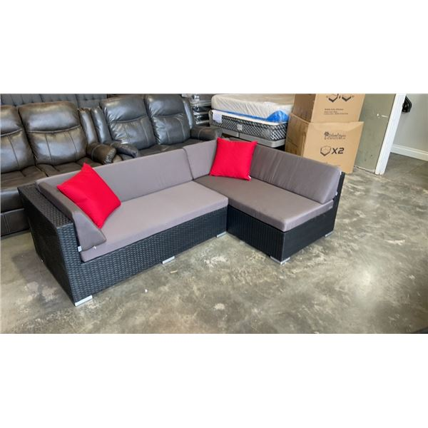 BRAND NEW PREMIUM SMALL L OUTDOOR SECTIONAL RETAIL $1549 W/ DARK GREY CUSHIONS AND 2 ACCENT PILLOWS