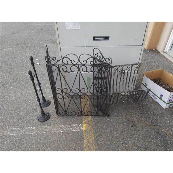 Decorative metal fire screen needs hinge one side, log holder and 2 tool holders