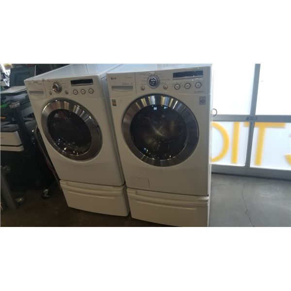LG TRUE STEAM WASHER AND DRIER ON PEDESTALS - SENSOR DRY DRYER AND INVERTER DIRECT DRIVE WASHER