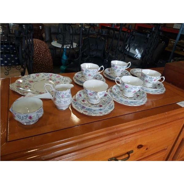 Royal albert cups, saucers, cream, sugar, side plates and cake plate