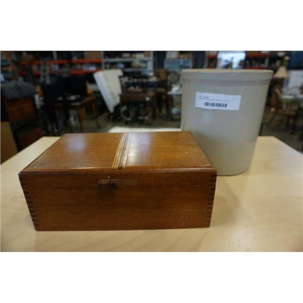 GENUINE MAHOGANY DOVETAILED BOX AND CROCK WITH CRACK