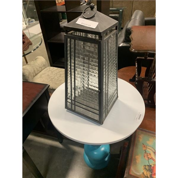 "Partylite metal and glass lantern type candle holder approx 22"" tall"