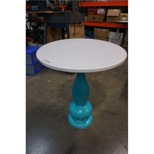 PAINTED WHITE AND TEAL PARLOUR TABLE