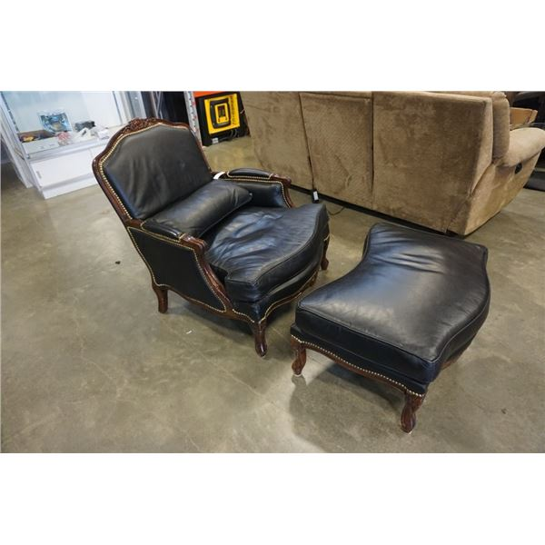BLACK LEATHER STUDDED CHAIR AND OTTOMAN