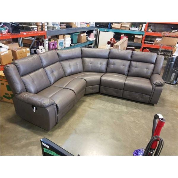 GREY AIR LEATHER RECLINING SECTIONAL SOFA