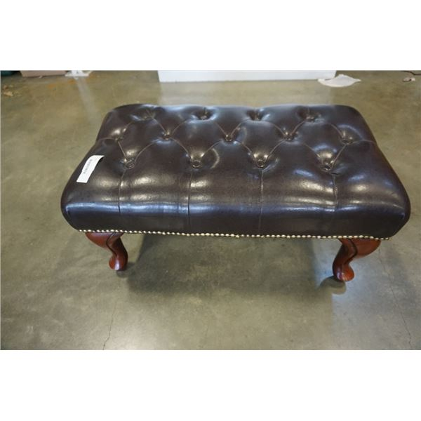 STUDDED TUFTED LEATHER OTTOMAN