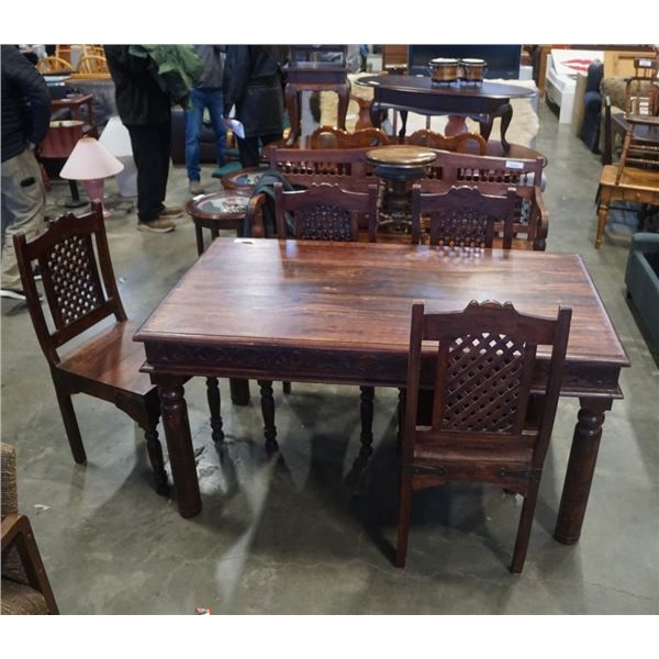 SOLID MAHOGANY REPRODUCTION WOOD DINING TABLE WITH 4 CHAIRS - METAL ACCENTS, BRASS STUDDED CHAIR BAC