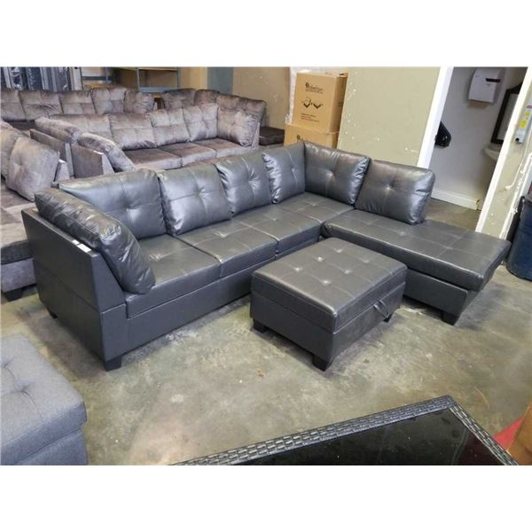 BRAND NEW 4 PIECE GREY AIR LEATHER SECTIONAL SOFA W/ REVERSIBLE CHAISE AND STORAGE OTTOMAN - RETAIL