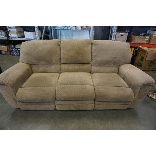 UPHOLSTERED ELECTRIC DOUBLE RECLINING SOFA WITH FLIP DOWN CENTER CONSOLE
