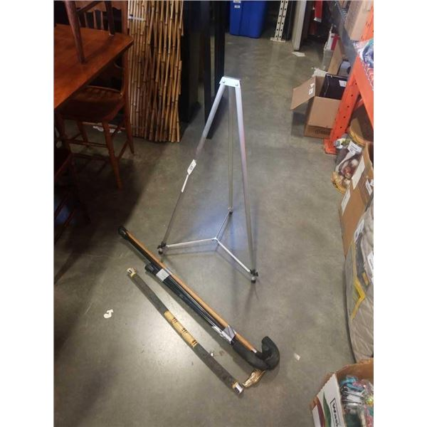 Lot of canes and aluminum sign holder