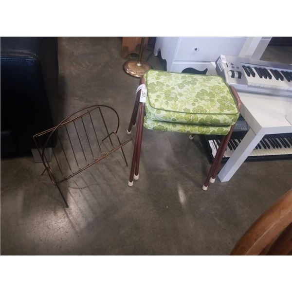 2 MCM STOOLS AND MAGAZINE RACK