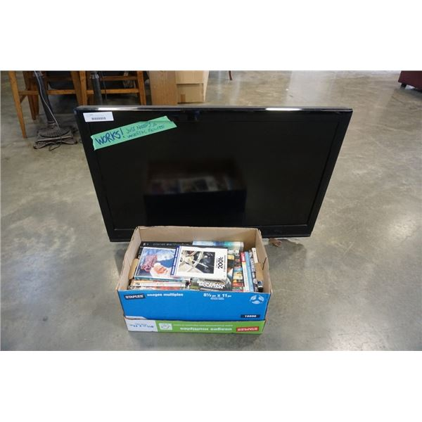 "Dynex 37"" LCD TV and Box of DVDs"
