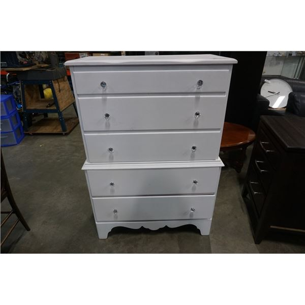 PAINTED WHITE 5 DRAWER DRESSER