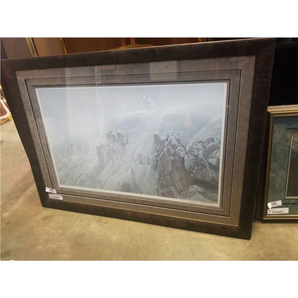 LEP Arctic cliff- white wolves by Robert Bateman with COA with Live ink Robert bateman signature