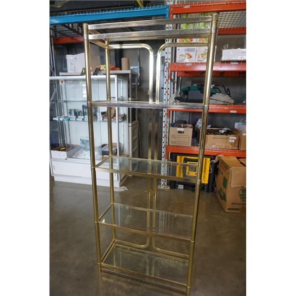 6 FOOT BRASS AND GLASS SHELF