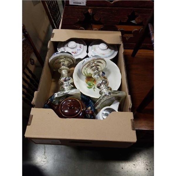 Box of bohemian and other china, glass stands and more