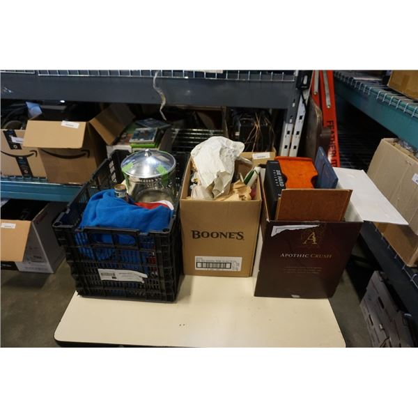 2 BOXES AND CRATE OF ESTATE GOODS, LAMP, FIGURES, CANDLES,