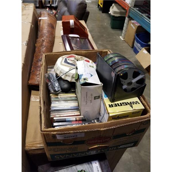 BOX OF DVDS, MOLSON BOTTLECAP CLOCK