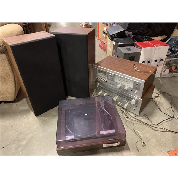 SOUND DESIGN 0487 & 5160 STEREO COMPONENTS AND TURNTABLE WITH MATCHING SPEAKERS