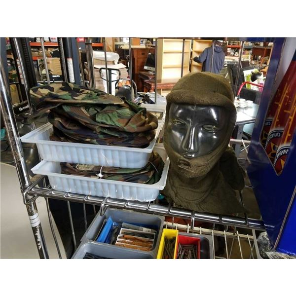 Lot of new camouflage hat and mannequin head with balaclava