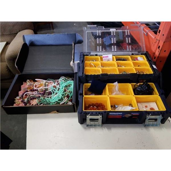 TOOLBOX OF JEWELRY AND BOX OF JEWELRY