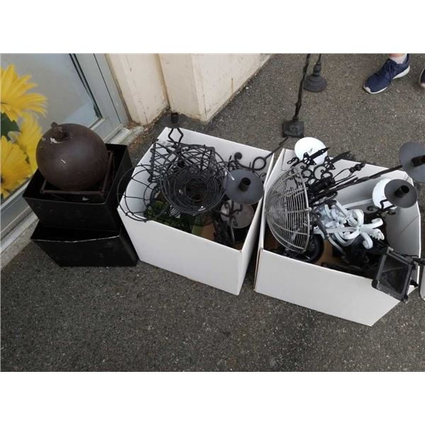 Two boxes of decorative metal and metal bins