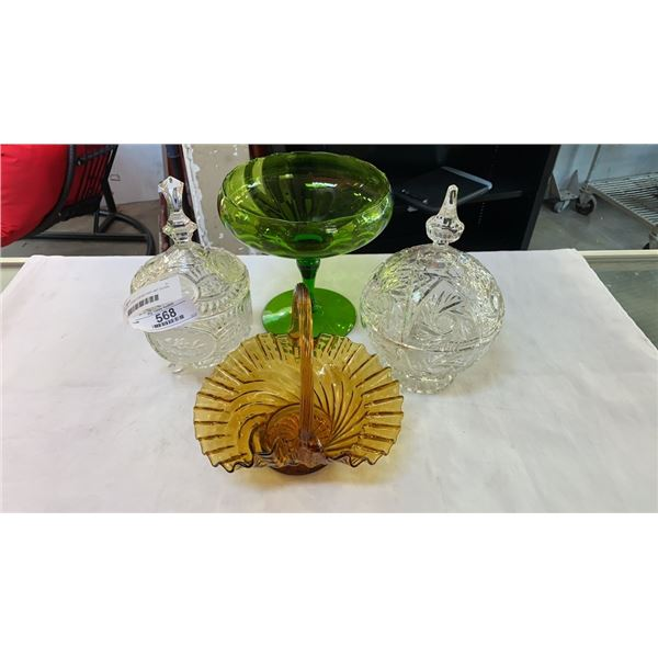 2 CRYSTAL LIDDED DISHES AND ART GLASS