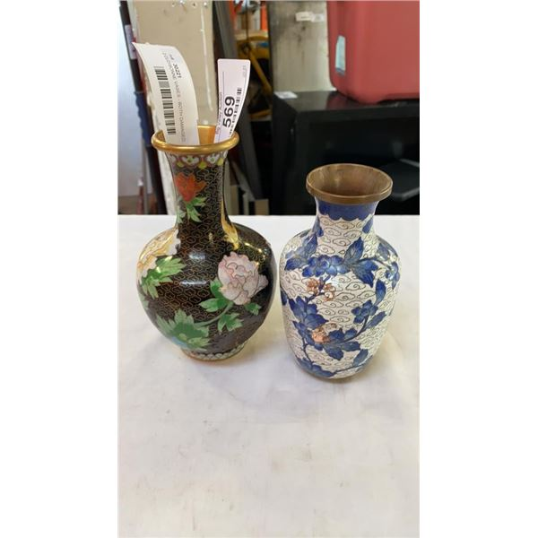 2 CLOISONNE VASES - BOTH DAMAGED, DENTED 6-7 INCHES TALL