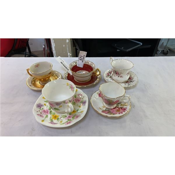 5 CHINA CUPS AND SAUCERS - ROYAL ALBERT, WINTON, WINDSOR, STAFFORD