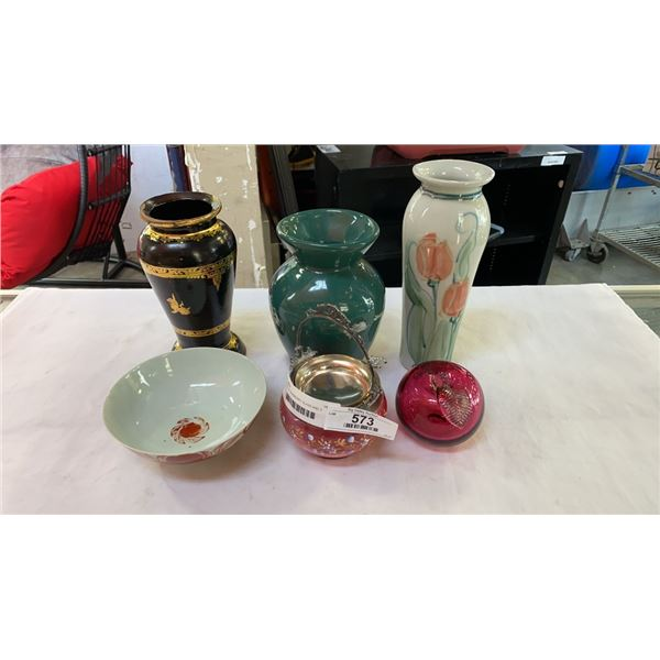 2 PIECES OF CRANBERRY GLASS AND 3 VASES