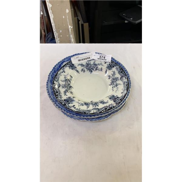 Collection of vintage floe blue plates spode and johnson bros