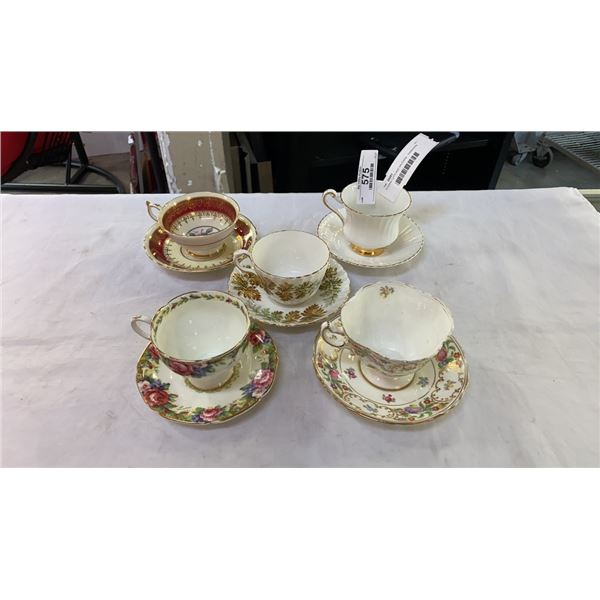 5 CHINA CUPS AND SAUCERS - PARAGON, AYNSLEY AND HAMMERSLY