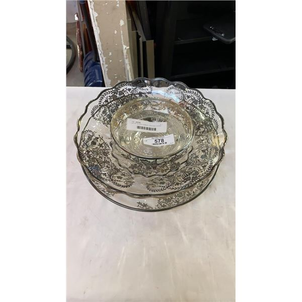 LOT OF SILVER OVERLAY SERVING DISHES