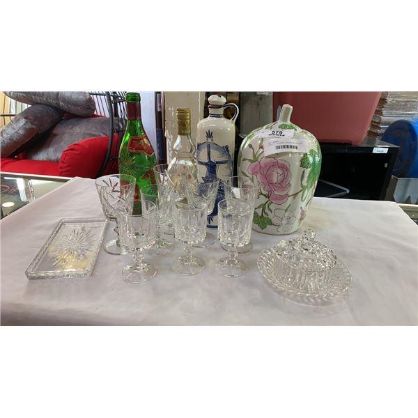 CRYSTAL GLASSES, COLLECTOR BOTTLES AND LIDDED JAR